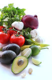 Fresh vegetables for making guacamole Royalty Free Stock Photography