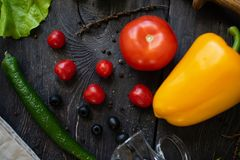 Vegetable Still life. The process of cooking vegetable salad. royalty free stock image