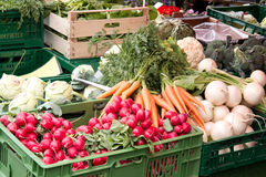 Fresh vegetables from market. Fresh vegetables in crates at a farmers market Royalty Free Stock Image