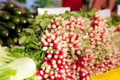 Fresh vegetables on a market stall stock photos