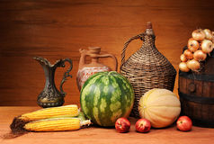 Fresh vegetables and mellons Stock Image