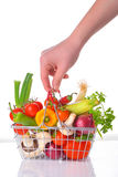 Fresh vegetables in metal basket Stock Images