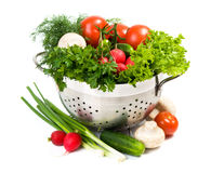 Fresh vegetables in metal bowl Royalty Free Stock Photo