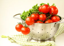 Fresh vegetables in metal colander Royalty Free Stock Images