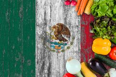 Fresh vegetables from Mexico on table. Cooking concept on wooden flag background.  stock photography