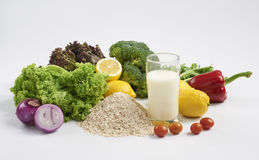Fresh vegetables and milk Royalty Free Stock Photo