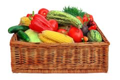 Free Fresh Vegetables Mix In The Wicker Box Stock Image - 44231511