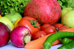 FRESH VEGETABLES. Mixed fresh fruit and vegetables Stock Photos