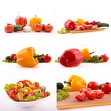Fresh vegetables mixed on white background Stock Images