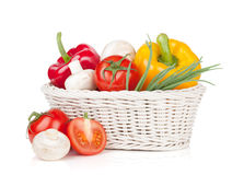 Fresh vegetables and mushrooms in basket Royalty Free Stock Photos