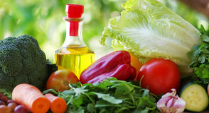 Fresh vegetables with oil Stock Photo