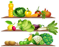Fresh vegetables and oil on the shelf Stock Photo
