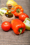 Fresh vegetables and oil stock photo