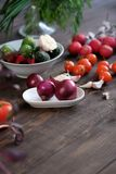 Fresh vegetables on old wooden table. Fresh vegetables on old rustic wooden table Stock Photo