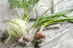 Fresh vegetables on old wooden table Royalty Free Stock Image