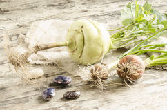 Fresh vegetables on old wooden table Stock Photos