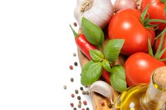Fresh vegetables with olive oil Stock Photography