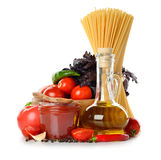 Fresh vegetables, olive oil and tomato sauce Stock Image