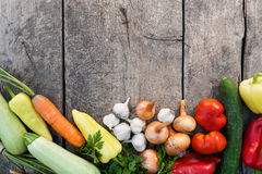 Fresh Vegetables On Vintage Wooden Background Royalty Free Stock Images
