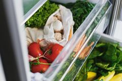 Fresh vegetables in opened drawer in refrigerator. Plastic free carrots,tomatoes, mushrooms,onions, radish,salad, arugula from. Market in fridge. Zero waste royalty free stock photography