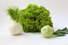 Fresh vegetables. Fresh organic lettuce, fennel and kohlrabi Stock Photo