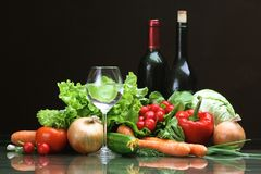Fresh Vegetables and other foodstuffs. royalty free stock photo