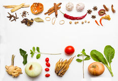 Fresh vegetables and other healthy foods on white background. Royalty Free Stock Photos