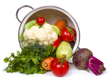Fresh vegetables in overturned pot Royalty Free Stock Photography