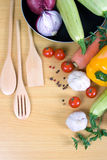 Fresh vegetables and pan stock photography