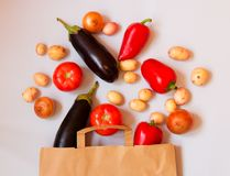 Fresh vegetables in paper bag on gray background. Stock Photography