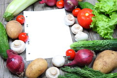 Fresh vegetables and a paper for recipe stock photography