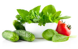 fresh vegetables with parsley and spinach in plate Stock Photo