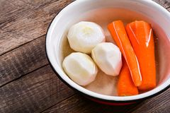 Fresh vegetables, peeled carrots and radish Stock Photography