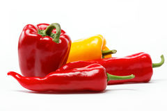 Fresh vegetables. Peppers on a white background. Royalty Free Stock Photos