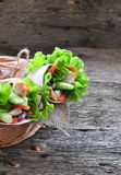Fresh vegetables in pita bread, with the boiled chicken, olives and Feta cheese Royalty Free Stock Images