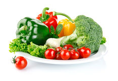 Fresh vegetables in plate Stock Image