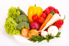 Fresh vegetables on plate Stock Images