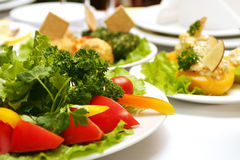 Fresh vegetables on the plate. In restaurant #2 Royalty Free Stock Photos