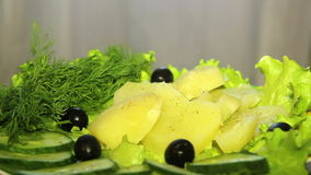Fresh vegetables on the plate, in a circular motion. stock footage