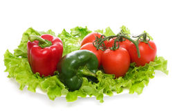 Fresh vegetables. Fresh vegetables on plate, isolated on a white background Stock Image