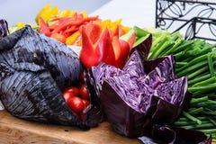 Fresh cut vegetables plate Stock Photos