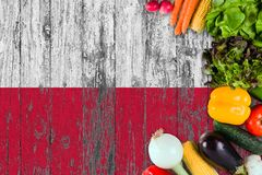 Fresh vegetables from Poland on table. Cooking concept on wooden flag background stock photos