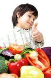 Fresh vegetables, positive kid Royalty Free Stock Photos
