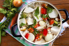 fresh vegetables in the pot Stock Images