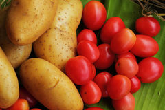 Fresh vegetables - potatoes, tomatoes. Royalty Free Stock Photo