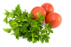 Fresh vegetables and potherb for salad. On a white background Royalty Free Stock Image