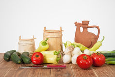 Fresh vegetables with pottery Stock Image