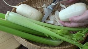 Fresh vegetables radish celery. Uncooked vegetables.  stock footage
