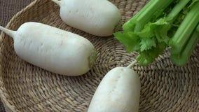 Fresh vegetables radish celery. Uncooked vegetables.  stock video footage