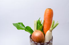 Fresh vegetables Raw Carrot,onion,radish in basket isolated on w Stock Photos